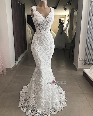 Attractive Sleeveless Mermaid Appliques V-Neck Lace Wedding Dresses_2