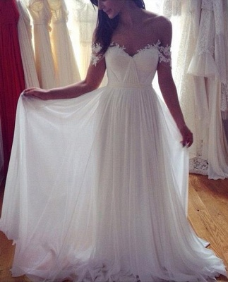 Simple But Elegant Off-the-shoulder Beach Wedding Dresses 2020 Floor Length With Appliques_1
