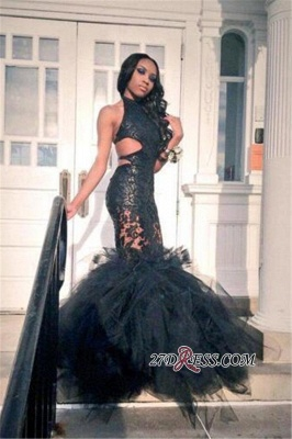 Mermaid Sexy Lace Ruffles Tulle Black Backless Prom Dress BK0_3