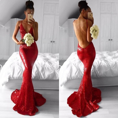 Sexy Red Sequins Prom Dress 2020 Backless Mermaid Long Party Gowns BA7966_3