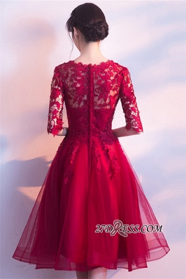 Lace Appliques Knee-Length Half-Sleeves Cheap Elegant Homecoming Dresses_2