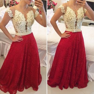 Sexy A-line Lace Appliques Prom Dress 2020 Pearls Cap Sleeve BT0_2