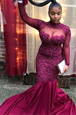 Sexy Long-Sleeves Sheer-Tulle Mermaid Prom Dress | Burgundy High-Neck Applique Long Evening Gown BC4072_5