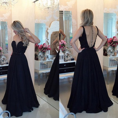 Sexy Chiffon Black A-line Prom Dress 2020 Zipper Button Back_2