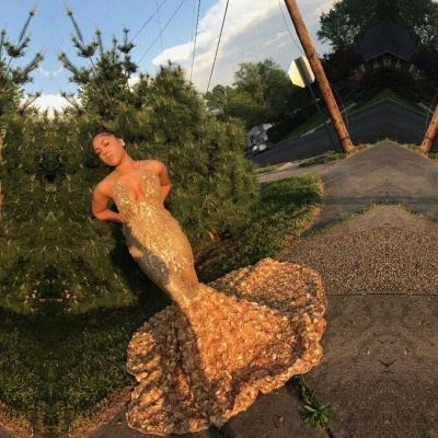 Sexy gold mermaid prom dress, sequins evening party gowns BK0_2