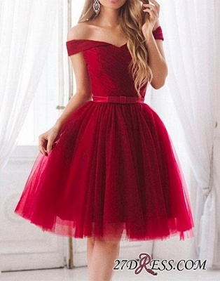 Off-the-shoulder Bow Tulle Knee-length Chic A-line Evening Dress_1
