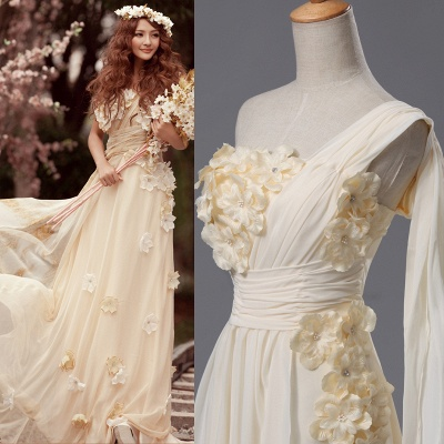 Newest One Shoulder Flowers Wedding Dress 2020 A-line Chiffon_4