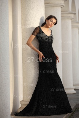 Black Scoop Lace Evening Dresses 2020 Short Sleeve Beadings Mermaid Prom Gowns_5