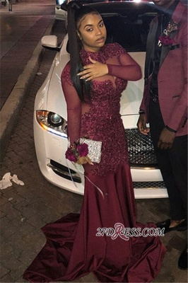 Sexy Long-Sleeves Sheer-Tulle Mermaid Prom Dress | Burgundy High-Neck Applique Long Evening Gown BC4072_3