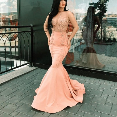 Glamorous Sleeveless Pink Prom Dresses | 2020 Lace Mermaid Long Evening Gowns_3