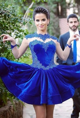 Delicate Long Sleeve Royal Blue Short Homecoming Dress Appliques_1