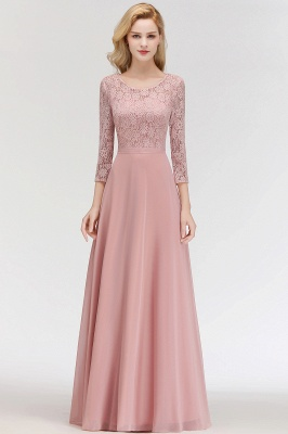 Newest Lace Pink 3/4-length Sleeve Bridesmaid Dress | 2020 Floor-length Dress_2