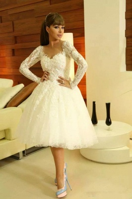Modern Sweetheart Long Sleeve Short Wedding Dress With Lace Appliques_1
