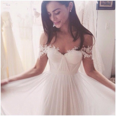 Simple But Elegant Off-the-shoulder Beach Wedding Dresses 2020 Floor Length With Appliques_5