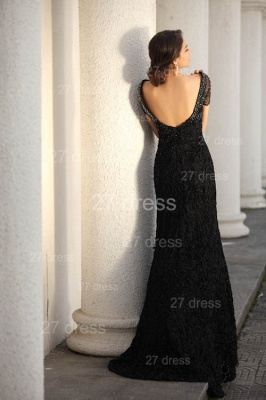 Black Scoop Lace Evening Dresses 2020 Short Sleeve Beadings Mermaid Prom Gowns_4