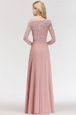 Newest Lace Pink 3/4-length Sleeve Bridesmaid Dress | 2020 Floor-length Dress_5