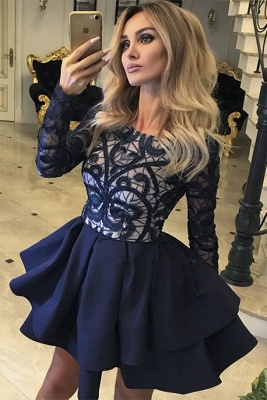 Gorgeous Long Sleeve Homecoming Dresses | 2020 Layers Lace Homecoming Dresses_2