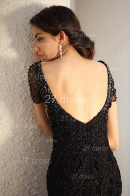 Black Scoop Lace Evening Dresses 2020 Short Sleeve Beadings Mermaid Prom Gowns_7