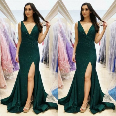 Elegant V-Neck Mermaid Prom Dress | 2020 Green Sequins Evening Gowns_3