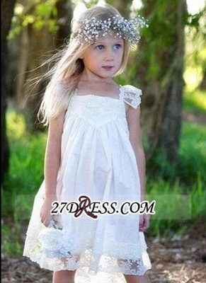 Back Cute Flower Crisscross Capped-Sleeves Girls Dresses_1