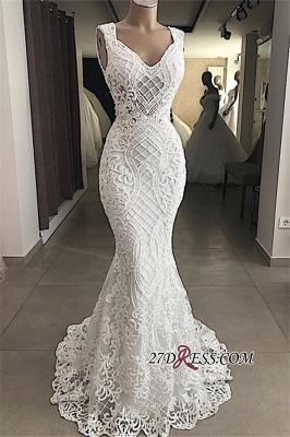 Attractive Sleeveless Mermaid Appliques V-Neck Lace Wedding Dresses_1