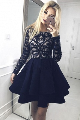 Gorgeous Long Sleeve Homecoming Dresses | 2020 Layers Lace Homecoming Dresses_3