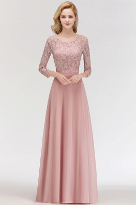 Newest Lace Pink 3/4-length Sleeve Bridesmaid Dress | 2020 Floor-length Dress_1