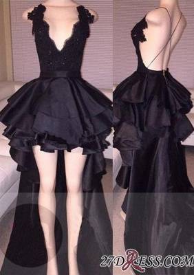 Cocktail Black Layered Lace Sexy Short Hi-Lo Prom Dress_2