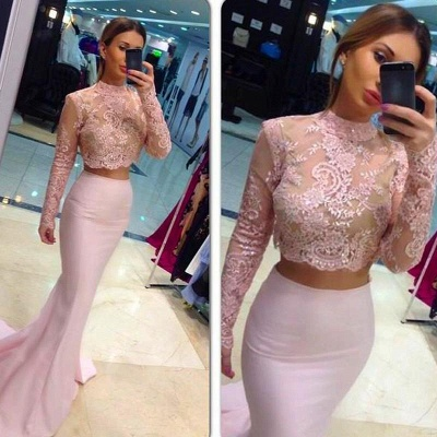 Sexy High Neck Lace Appliques Pink Prom Dress 2020 Mermaid Two Piece_2