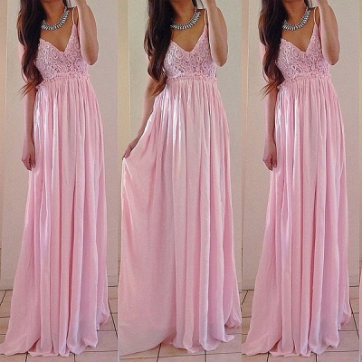 Elegant V-neck Sleeveless Long Prom Dress With Lace Appliques_3