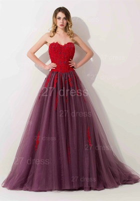 Delicate Lace Appliques Sweetheart Evening Dress Sweep Train_1