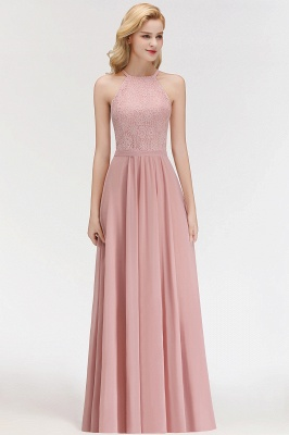 Newest Pink Lace Long A-line Bridesmaid Dress | Floor-length Dress_2