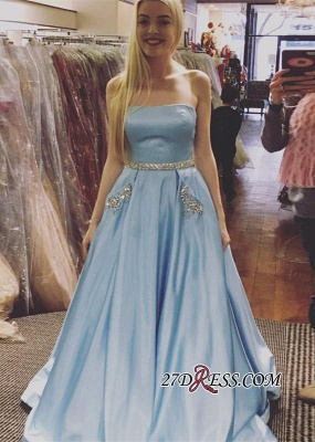 Sleeveless A-line Newest Crystals Sky-Blue Strapless Prom Dress_2