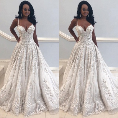 2020 Beautiful Spaghetti-Straps Long Wedding Dress | V-Neck Lace Applique Bridal Gown On Sale_2