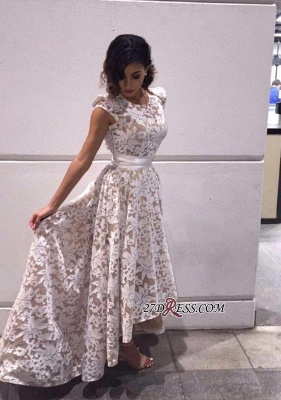 Capped-Sleeves Sheer A-line Hi-Lo Flower-Print White Prom Dresses_2