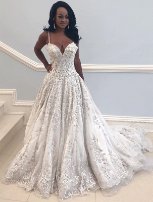 2020 Beautiful Spaghetti-Straps Long Wedding Dress | V-Neck Lace Applique Bridal Gown On Sale_1