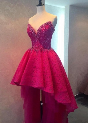 Hi-lo Lace Glamorous Beadings Sweetheart Homecoming Dress_1