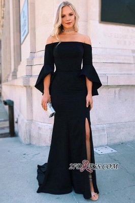 Sheath Brilliant Side-Split Off-the-shoulder Bell-Sleeves Evening Dresses_2