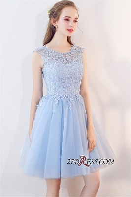 Baby-Blue Sleeveless Short Appliques Lace Tulle Homecoming Dresses_3