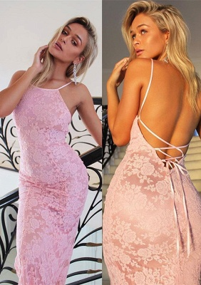 Pink Mermaid Evening Dress | 2020 Lace Prom Dress_2
