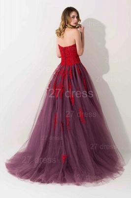 Delicate Lace Appliques Sweetheart Evening Dress Sweep Train_3