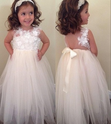Bowknot A-line Floral-Appliques Cute Floor-Length Flower-Girl-Dresses BA8373_1