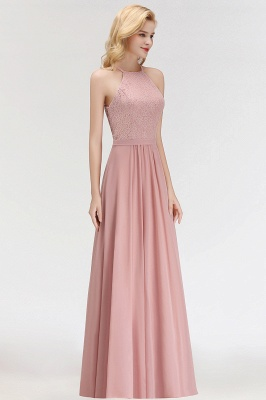 Newest Pink Lace Long A-line Bridesmaid Dress | Floor-length Dress_4