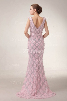 Pink Mermaid Prom Gowns 2020 Sash Bowknot Evening Dresses with Beadings_4