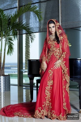 Glamorous Long Sleeve Red Arabic Wedding Dress With Appliques_1