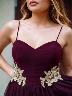 Burgundy Sweetheart Homecoming Dresses | 2020 Appliques Tulle Short Homecoming Dresses_2