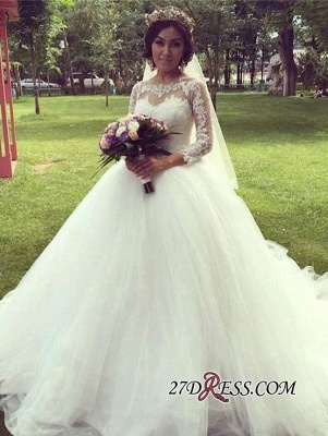 Ball-Gown Long-Sleeve Tulle Glamorous Lace Princess Wedding Dress_4