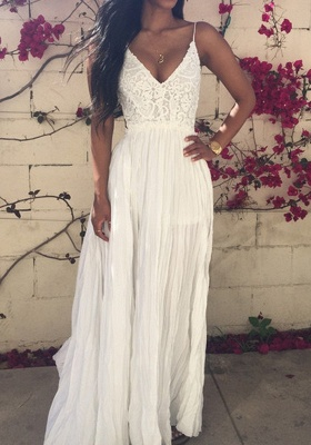 Elegant V-neck Sleeveless Long Prom Dress With Lace Appliques_4