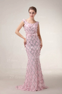 Pink Mermaid Prom Gowns 2020 Sash Bowknot Evening Dresses with Beadings_2