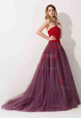 Delicate Lace Appliques Sweetheart Evening Dress Sweep Train_2